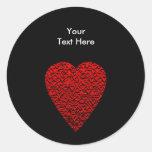 Cuadro rojo brillante del corazón etiquetas redondas