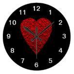 Cuadro rojo brillante del corazón reloj