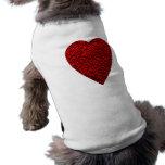Cuadro rojo brillante del corazón camisetas de mascota