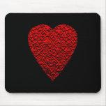 Cuadro rojo brillante del corazón tapete de ratón
