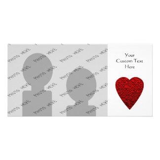 Cuadro rojo brillante del corazón tarjeta personal con foto