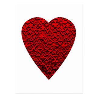 Cuadro rojo brillante del corazón postal