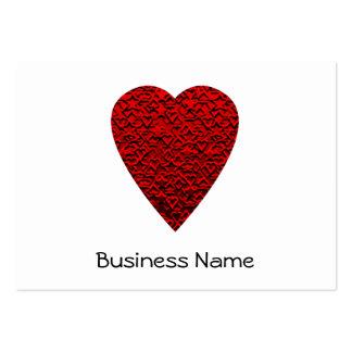 Cuadro rojo brillante del corazón tarjetas de visita grandes