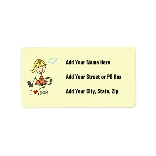 Cuadro rubio regalos del palillo del chica del fút etiqueta de dirección