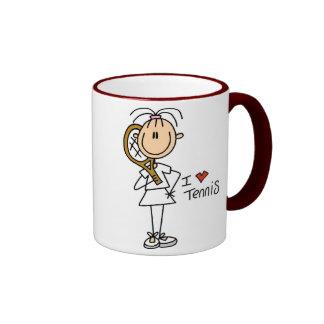 Cuadro taza del palillo del tenis del corazón de I