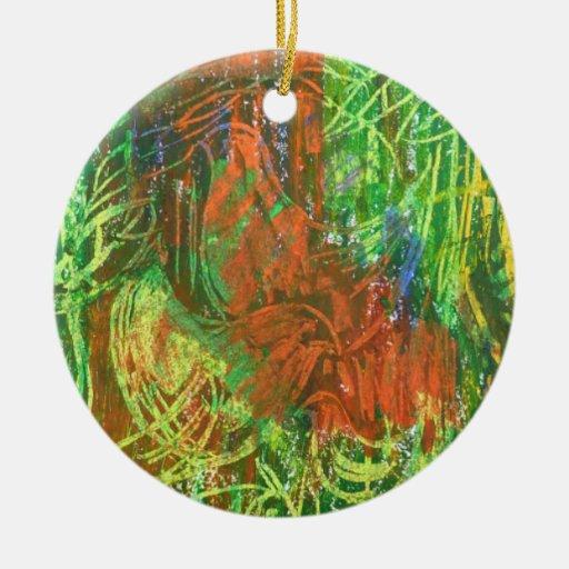 Cuadro tropical de los pájaros adorno navideño redondo de cerámica