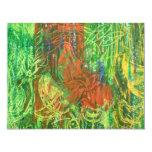 Cuadro tropical de los pájaros invitación 10,8 x 13,9 cm
