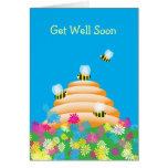 Cuaesquiera abejas y flores lindas de la ocasión tarjeta de felicitación