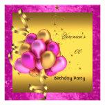 Cuaesquiera globos rosados elegantes del oro de la invitación