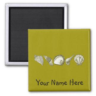 Cuaesquiera Seashells del personalizable del color Imán Cuadrado