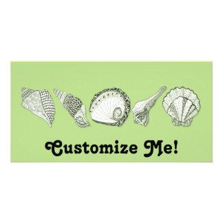 Cuaesquiera Seashells dibujados mano del color Tarjeta Fotografica Personalizada
