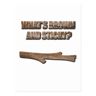 Cuál es Brown y chiste pegajoso Tarjeta Postal