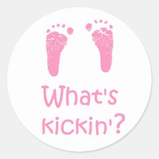 ¿Cuál es Kickin? pegatinas Pegatina Redonda