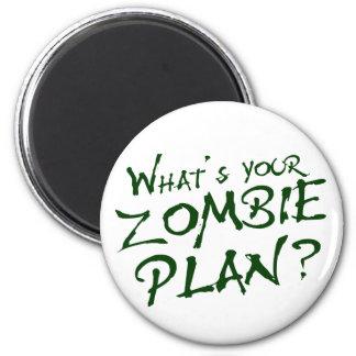 ¿Cuál es su plan del zombi? Imán Redondo 5 Cm