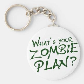 ¿Cuál es su plan del zombi? Llavero Redondo Tipo Pin