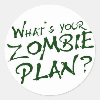 ¿Cuál es su plan del zombi? Pegatinas Redondas