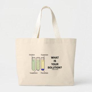 ¿Cuál es su solución? (Humor de la química) Bolsas De Mano