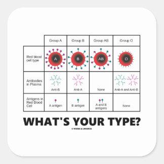 ¿Cuál es su tipo? (Grupos del glóbulo) Pegatina Cuadrada