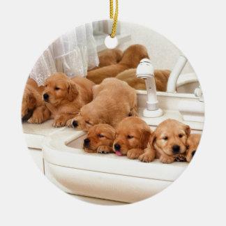¿Cuál es un baño Los perritos lindos descubren Ba Ornamentos De Navidad