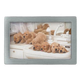 ¿Cuál es un baño? Los perritos lindos descubren Ba Hebilla Cinturón Rectangular