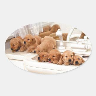 ¿Cuál es un baño? Los perritos lindos descubren Pegatina Ovalada