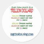 Cuál es un trillón pegatina redonda