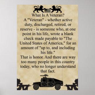 ¿Cuál es un veterano? Póster