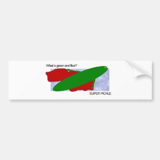 ¿Cuál es verde y vuela? ¡Salmuera estupenda! Etiqueta De Parachoque