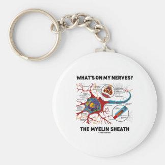 ¿Cuál está en mis nervios? La envoltura de Myelin Llavero Redondo Tipo Pin