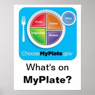 ¿Cuál está en MyPlate? Poster - azul en blanco