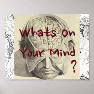 """¿Cuál está en su mente? 11"""" x 8,5"""" Póster"""