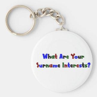 ¿Cuáles son sus intereses del apellido? Llavero Redondo Tipo Pin