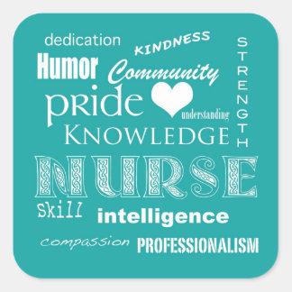 Cualidad-Aguamarina del orgullo de la enfermera az Colcomania Cuadrada