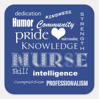 Cualidad-Arándano del orgullo de la enfermera Calcomania Cuadrada Personalizada