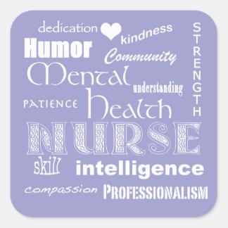 Cualidad-Lila del orgullo de la enfermera de salud Calcomanía Cuadradas Personalizadas
