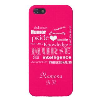 Cualidades del orgullo de la enfermera+Corazón/ros iPhone 5 Carcasas