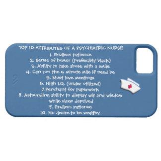 Cualidades del top 10 de un Enfermera-Humor psiqui iPhone 5 Case-Mate Cárcasa