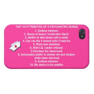 Cualidades del top 10 de un Psych. Enfermera+casqu iPhone 4 Fundas