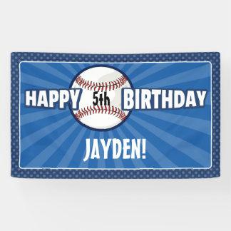 Cualquie bandera azul del cumpleaños del béisbol lona