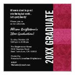 Cualquie blanco negro rojo de la graduación del invitación 13,3 cm x 13,3cm