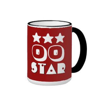 CUALQUIE BLANCO ROJO de la estrella V18C del Taza De Dos Colores