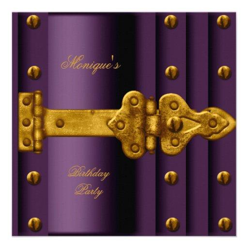 Cualquie cerradura púrpura del oro del ciruelo de  invitaciones personales