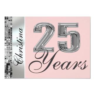 """Cualquie color y 25 años de cumpleaños de invitación 4.5"""" x 6.25"""""""