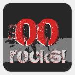 ¡Cualquie cumpleaños del año - rocas! Grunge rojo Pegatina Cuadradas