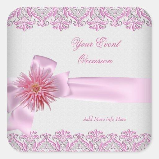 Cualquie dalia floral rosada bonita blanca del calcomanías cuadradas