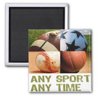 Cualquie deporte en cualquier momento imán cuadrado