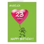 Cualquie edad/figura chica del palillo de la tarjeta de felicitación