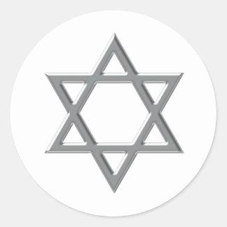 Cualquie estrella de la plata del fondo del color pegatinas redondas