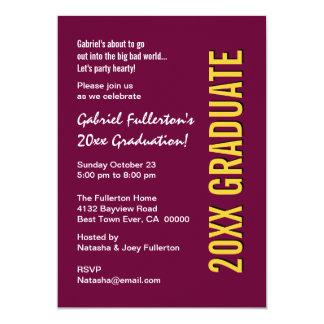 """Cualquie fiesta de graduación Borgoña del año y Invitación 5"""" X 7"""""""