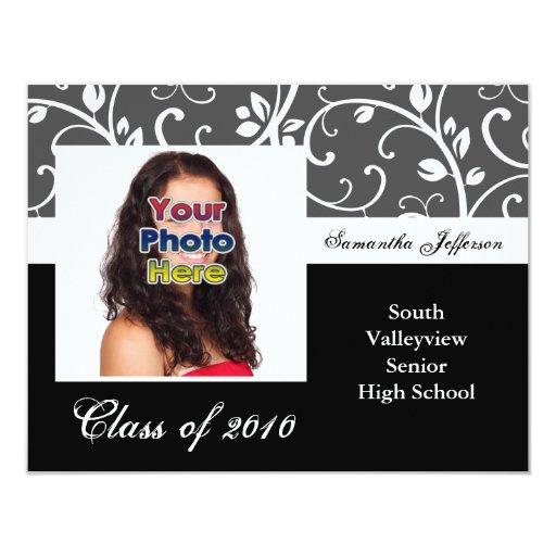 """Cualquie graduación blanco y negro de la foto de invitación 4.25"""" x 5.5"""""""